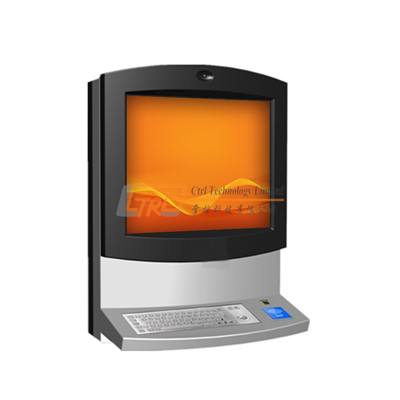 Wall mounted touchscreen interactive internet check-in kiosk with RFID